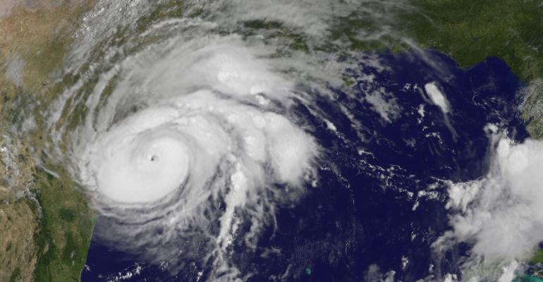 Image of Hurricane Harvey taken from NOAA's GOES East satellite on Aug. 25 at 10:07 a.m. EDT (1407 UTC) clearly shows the storm's eye as the storm nears landfall in the southeastern coast of Texas.