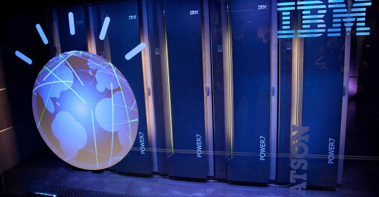 IBM's 'Watson' computing system seen at a press conference in 2011