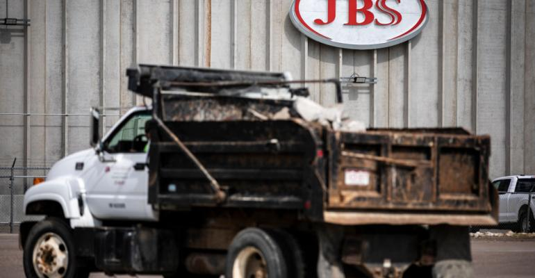 A JBS Processing Plant stands dormant after halting operations on June 1, 2021 in Greeley, Colorado.