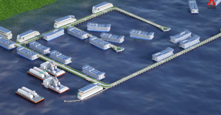 "A CGI representation of Keppel's vision of a floating data center park, or ""marina."""