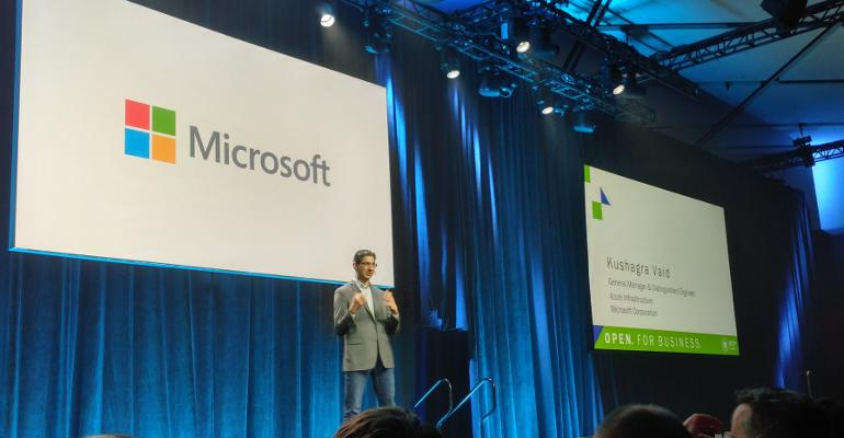 Kushagra Vaid, general manager and distinguished engineer, Azure Infrastructure, Microsoft, speaking at the OCP Summit 2018 in San Jose, California.
