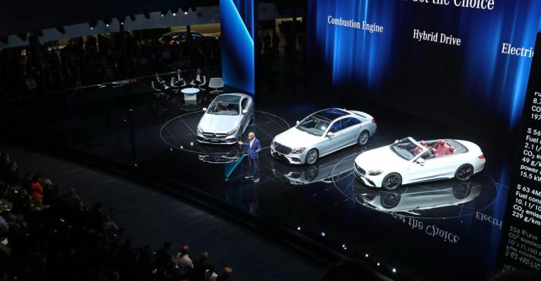 Dieter Zetsche, Chairman of Daimler AG, speaks at the Mercedes-Benz press conference at the 2017 Frankfurt Auto Show on September 12, 2017