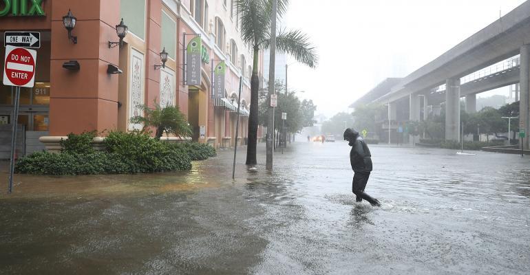 Brickell area of downtown Miami flooded as Hurricane Irma passes through on September 10, 2017