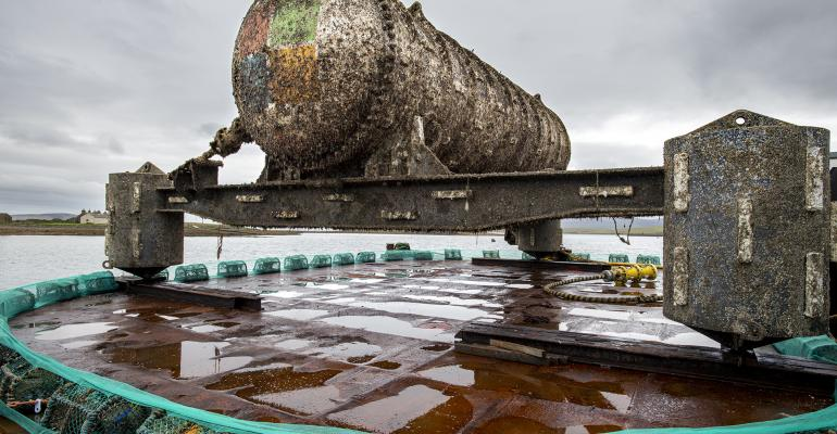 The Northern Isles data center was attached to a ballast-filled triangular base for deployment 117 feet deep on the seafloor off the Orkney Islands in Scotland in 2018.