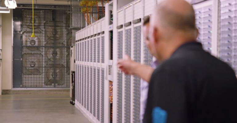 Fan wall inside Microsoft's fifth-generation data center in Quincy, Washington