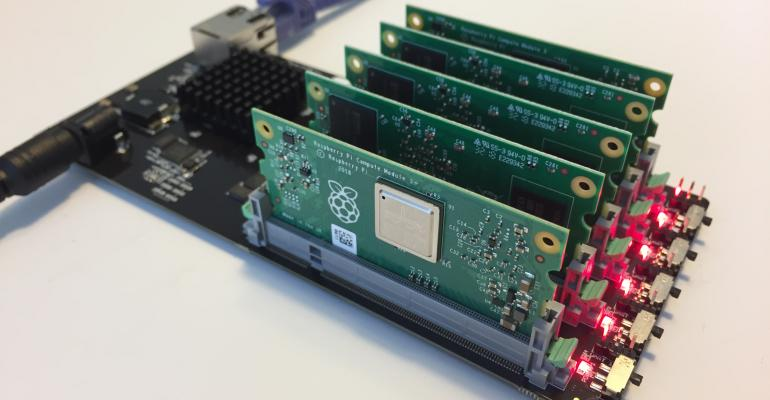 miniNodes' typical deployment: a five-node Raspberry Pi carrier board