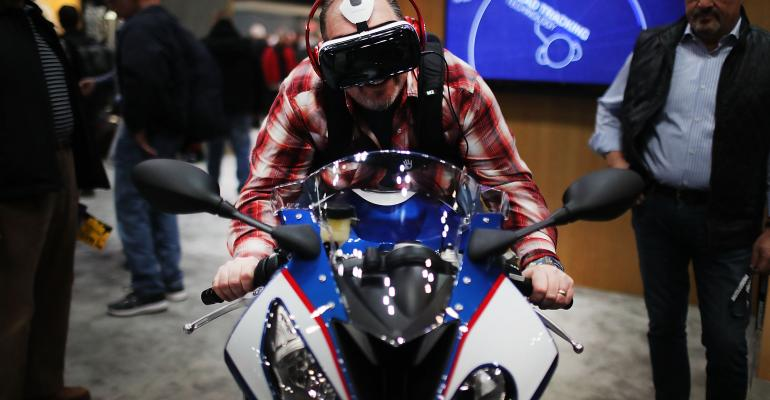 VR-assisted motorcycle showcase
