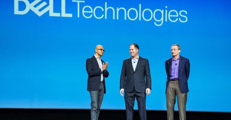 Left to right: Microsoft CEO Satya Nadella, Dell Technologies CEO Michael Dell, VMware CEO Pat Gelsinger