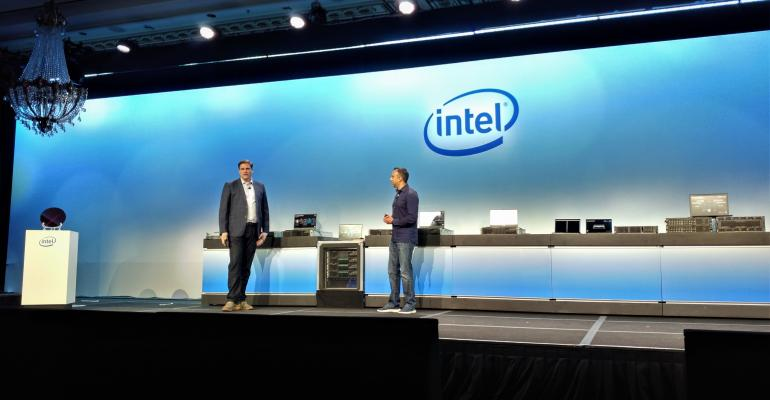 Matt Singer, a Twitter senior staff hardware engineer (left), and Navin Shenoy, executive VP and general manager of the Data Center Group at Intel, speaking at an Intel event in San Francisco on April 2, 2019.