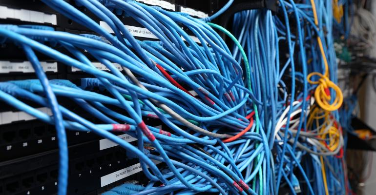 Network cables in a server room
