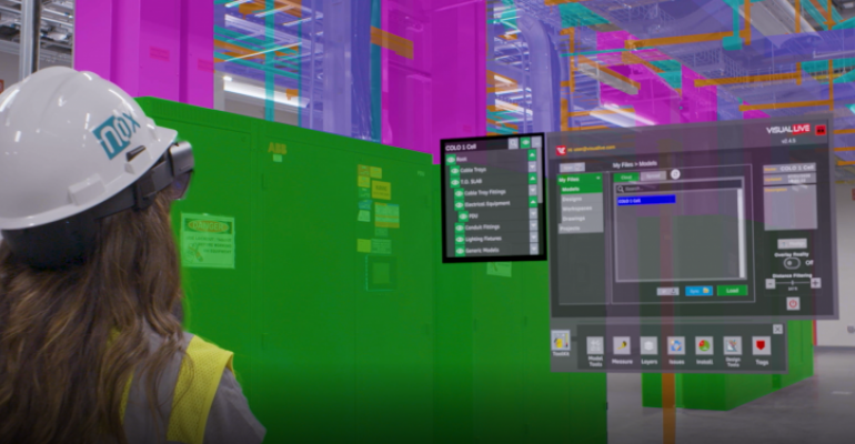 Viewing a 3D hologram of data center infrastructure overlaid over a physical space