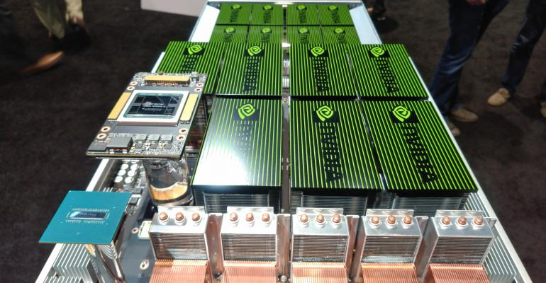 Nvidia's DGX-2 supercomputer on display at GTC 2018