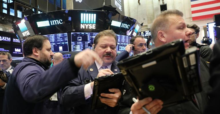 Traders work on the floor of the New York Stock Exchange (NYSE) on February 6, 2018 in New York City.