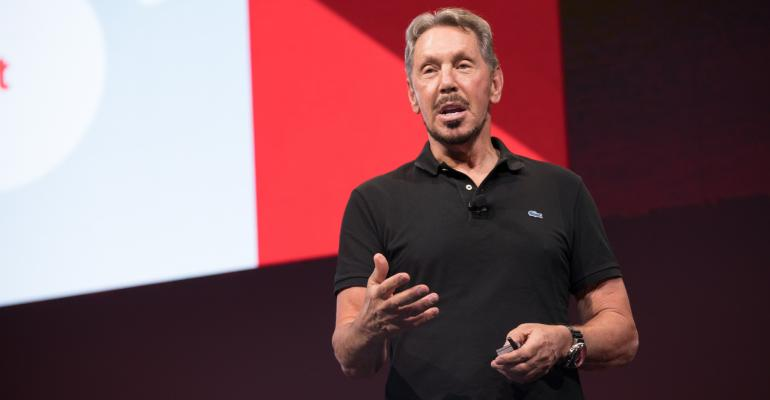 Larry Ellison, Oracle CTO and executive chairman, speaking at Oracle OpenWorld 2017 in San Francisco