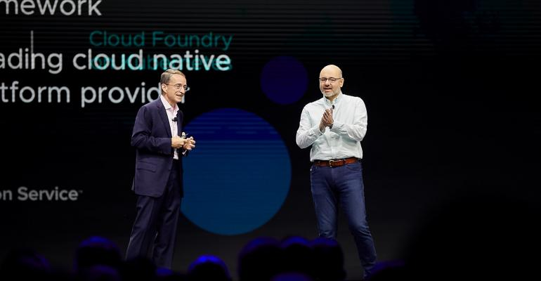 VMware CEO Pat Gelsinger (left) on stage at VMworld 2019 with Joe Beda, a principal engineer at VMware and one of the three original creators of Kubernetes.