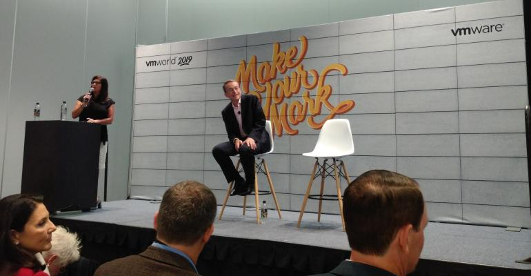 VMware CEO Pat Gelsinger speaking during a press conference at VMworld 2019 in San Francisco