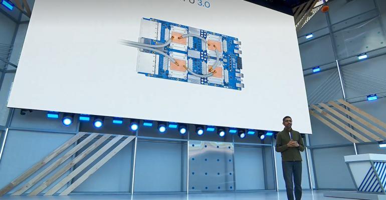 Google CEO Sundar Pichai speaking at Google I/O 2018