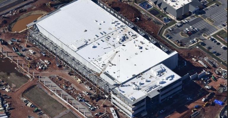 QTS's three-story QMOD Ashburn, Virginia, data center under construction, seen in March 2018