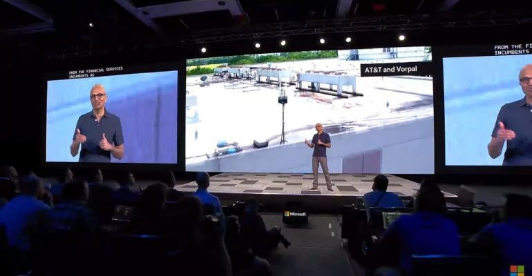 Microsoft CEO Satya Nadella showing a drone camera view of Vorpal's portable detection equipment at Build 2019.