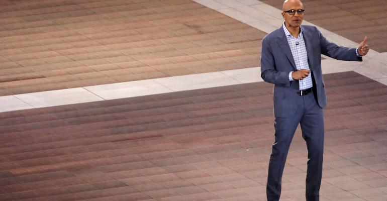 Microsoft CEO Satya Nadella speaking in 2017