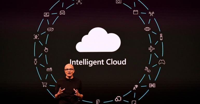 Microsoft CEO Satya Nadella speaking at Mobile World Congress 2019 in Barcelona
