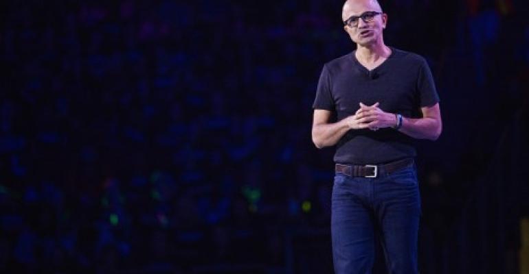 Microsoft CEO Satya Nadella speaks on stage during We Day at KeyArena on April 20, 2016 in Seattle, Washington.