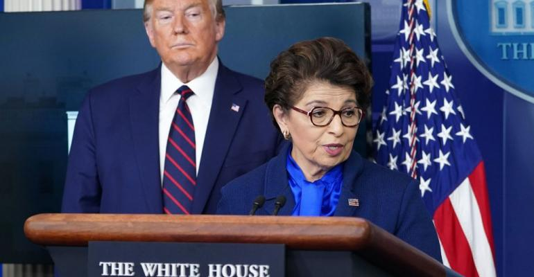 SBA Administrator Jovita Carranza speaks during the daily briefing on the novel coronavirus, COVID-19, at the White House on April 2, 2020.