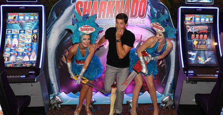 """Rib Hillis at the premiere of the casino game """"Sharknado: The 4th Awakens"""" by Aristocrat at the Stratosphere Casino in Las Vegas in 2016"""