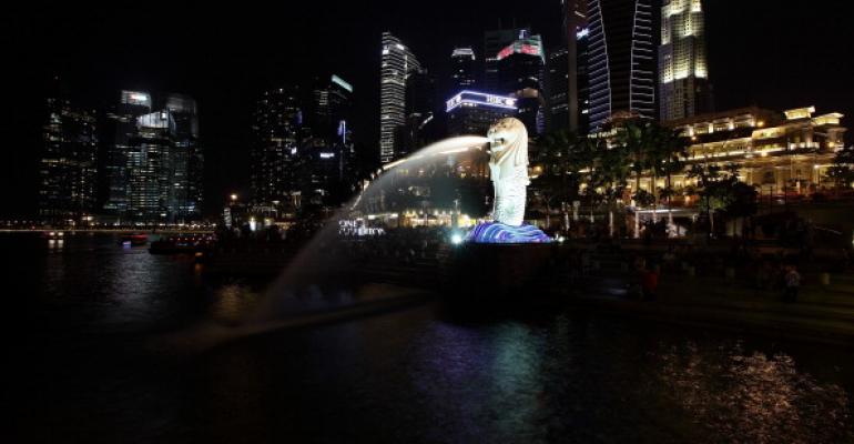 The Singapore skyline during nighttime, 2013