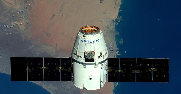 SpaceX Dragon spacecraft passes Dubai in April 2016.