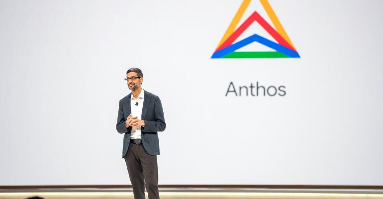 Alphabet CEO Sundar Pichai unveiling Anthos at Google Cloud Next 2019