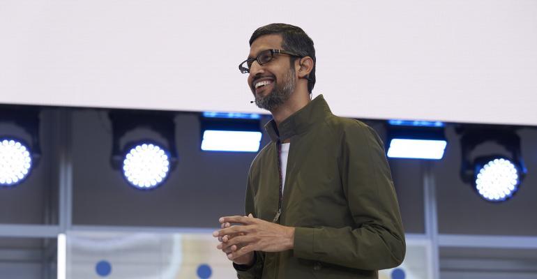 Sundar Pichai, Google CEO, speaking at Google I/O 2018
