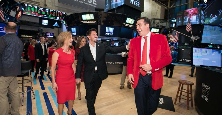 Switch CEO and founder Rob Roy on the floor of the New York Stock Exchange on the company's IPO day