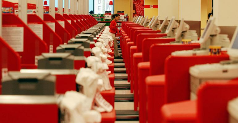 A row of registers at a Target store in Brooklyn