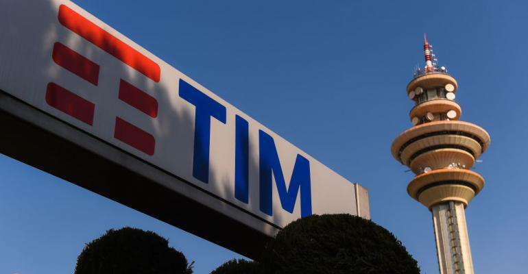 Telecom Italia tower at the company's headquarters in Rozzano