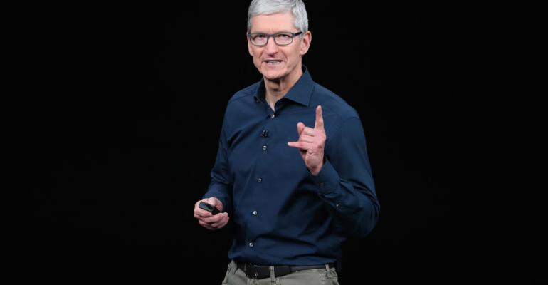 Tim Cook, chief executive officer of Apple,  speaks during an Apple event at Apple Park in September 2018 in Cupertino, California.