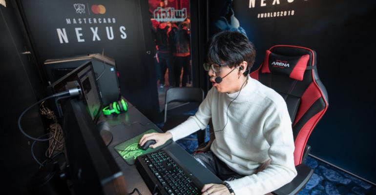 Twitch Streamer Junhee Lee aka bbyongbbyong86 streams live from Mastercard Nexus, 2018 League of Legends World Championship on November 1, 2018 in Incheon, South Korea.