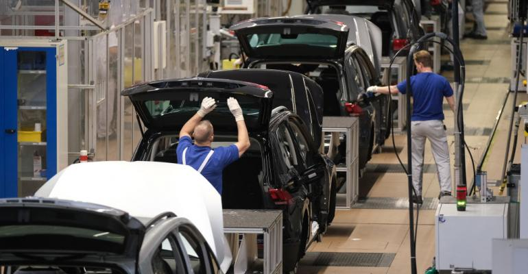 Assembly line for Volkswagen Touareg, Touran, and T-Roc models at the Volkswagen factory in Wolfsburg, Germany. March 2019