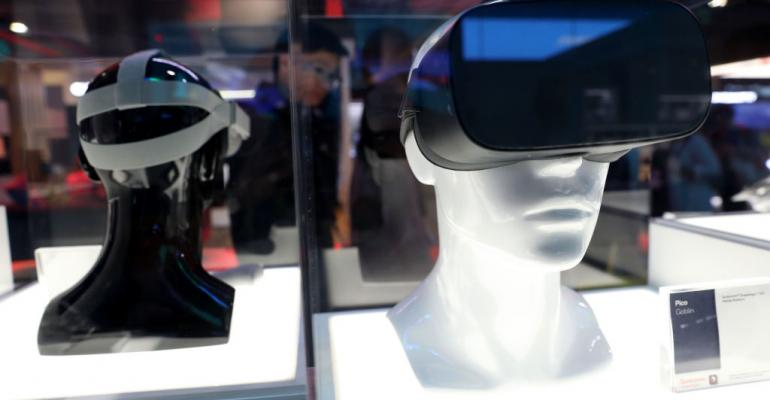 VR headsets on display at CES 2019 in Las Vegas
