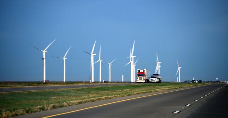 A wind farm in Adrian, Texas