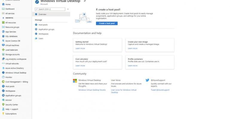 Microsoft Azure's windows virtual desktop view