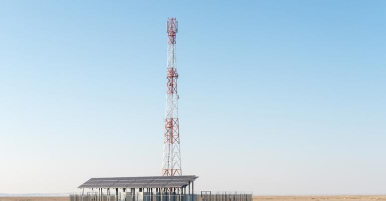 A solar-powered cell tower in the Northern Cape Province of South Africa on the border with Namibia