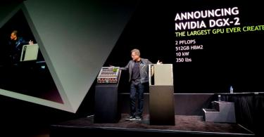 Jensen Huang, founder and CEO, Nvidia, unveiling the DGX-2 supercomputer at GTC Summit 2018