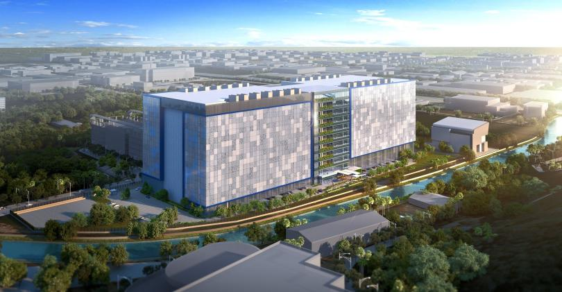 Rendering of Facebook's planned 11-story data center in Singapore