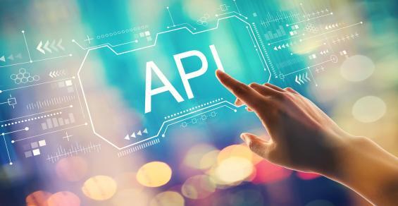 API concept with hand pressing a button