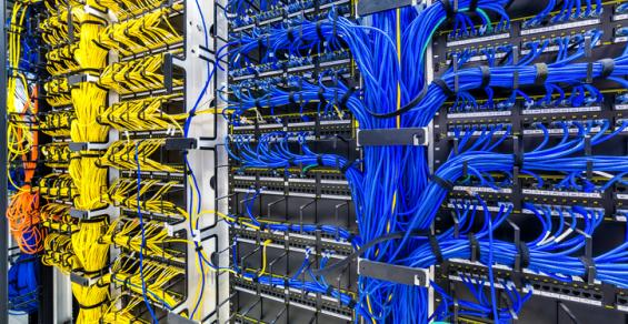 Network cables inside a large company's data center
