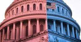 US capitol building in red and blue