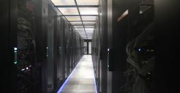A look down an aisle inside Equinix's PA8 data center in Pantin, a Paris suburb.