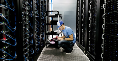 A Dropbox engineer working in one of the company's data centers
