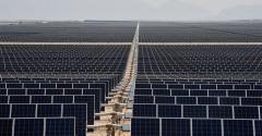 The Villanueva photovoltaic power plant operated by the Italian company Enel Green Power in the desert near Villanueva, a town in the municipality of Viesca, Coahuila State, Mexico.